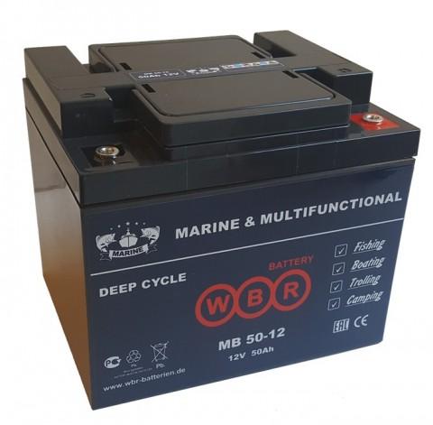 Cвинцово-кислотная аккумуляторная батарея WBR Marine MB 50-12 AGM